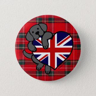 黒いラブラドール及びイギリスの旗のハート2の漫画のタータンチェック 缶バッジ