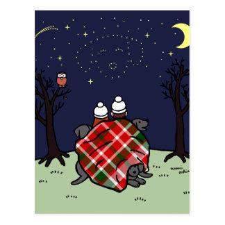 黒いラブラドール家族および星明かりの空 ポストカード