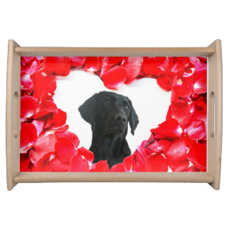 黒いラブラドール犬バラのハートの写真のサービングの皿 トレー
