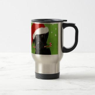 黒いラブラドール-おもしろいなクリスマス犬 トラベルマグ