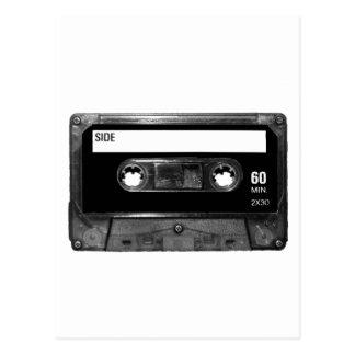 黒いラベルのカセットテープ ポストカード