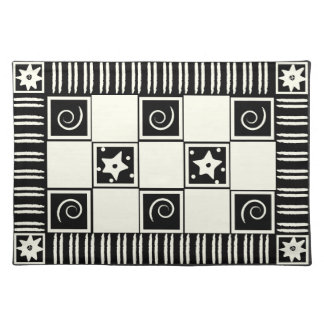 黒いランチョンマットの抽象芸術の白 ランチョンマット