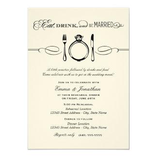 黒いリハーサルの夕食|は飲み物を食べ、結婚したです カード