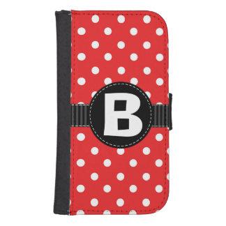 黒いリボンが付いている赤く及び白い水玉模様 手帳 GALAXY S4ケース