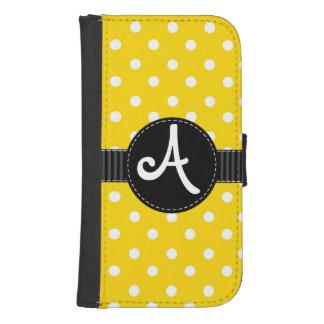 黒いリボンが付いている黄色及び白い水玉模様 ウォレットケース
