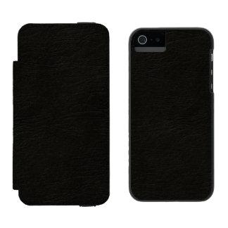 黒いレザールック iPhone SE/5/5sウォレットケース