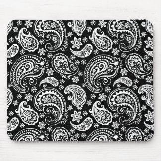 黒いレトロの華美なペイズリーパターンデザインの白 マウスパッド