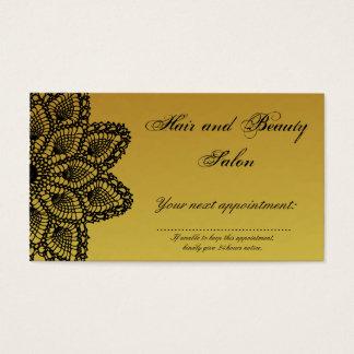 黒いレースの金ゴールドの毛および美容院のアポイントメント 名刺