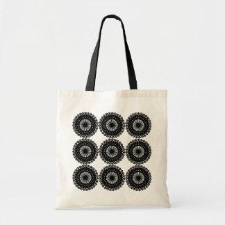 黒いレースパターンデザイン。 カスタム トートバッグ