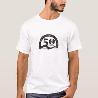 黒いロゴ-メンズふもとの小丘は50 Tシャツを回します Tシャツ