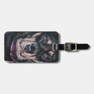黒いロットワイラー犬のスケッチのポートレート ラゲッジタグ