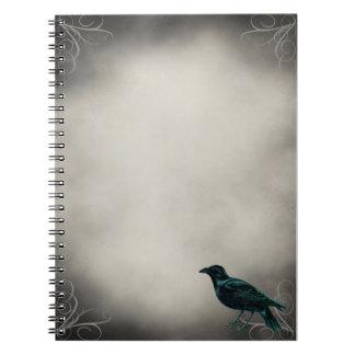 黒いワタリガラスのゴシック様式ノート ノートブック
