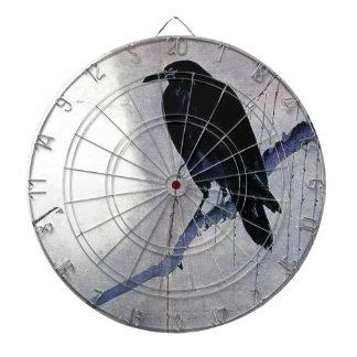 黒いワタリガラスの鳥のアンティーク ダーツボード