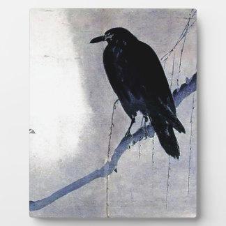 黒いワタリガラスの鳥のアンティーク フォトプラーク