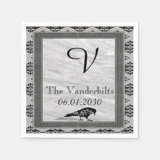 黒いワタリガラスゴシック様式フレームのモノグラムの結婚式 スタンダードカクテルナプキン