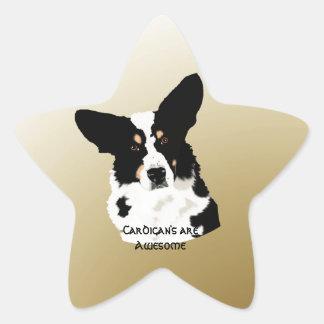 黒い三カーディガンのウェルシュコーギーの勾配の金ゴールド 星型シール