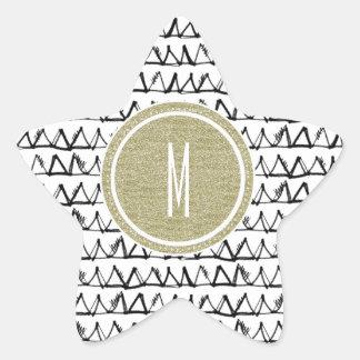 黒い三角形の金ゴールドのグリッターのモノグラム 星シール