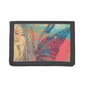 黒い三重ナイロン財布の虹の妖精