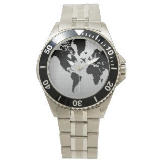 黒い世界地図の腕時計上の飛行機のシルエット ウォッチ