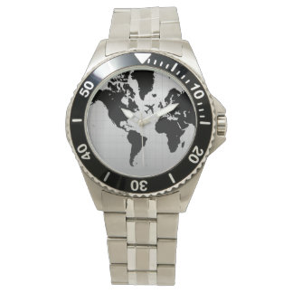 黒い世界地図の腕時計上の飛行機のシルエット 腕時計