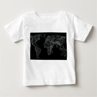 黒い世界地図 ベビーTシャツ