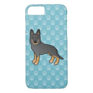 黒い二色のジャーマン・シェパード犬のデザイン iPhone 8/7ケース