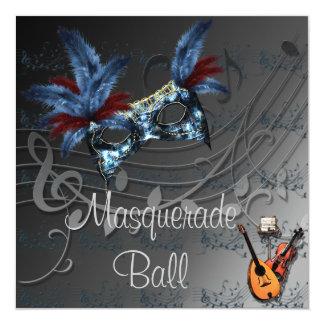 黒い仮面舞踏会の招待状の青いマスク カード