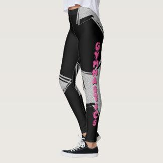 黒い体操のデザインパターンレギング レギンス