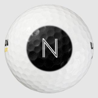 黒い円のモノグラム ゴルフボール