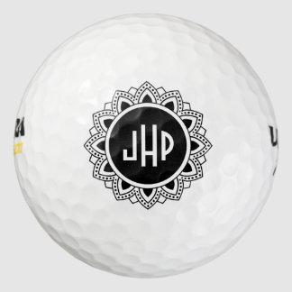 黒い円の曼荼羅のモノグラム ゴルフボール