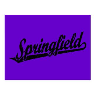 黒い動揺してのスプリングフィールドの原稿のロゴ ポストカード