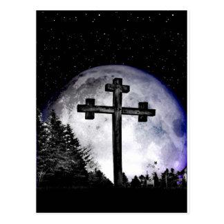 黒い十字および満月 ポストカード