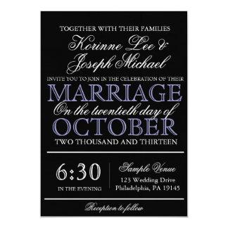 黒い原稿のモダンの結婚式招待状 カード