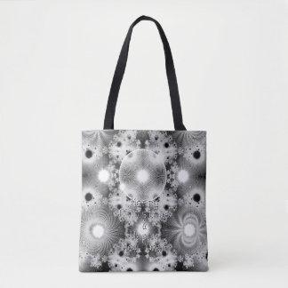 黒い及びホワイトクリスマスはフラクタルパターンを主演します トートバッグ