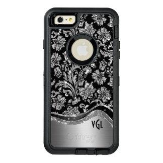 黒い及び光沢がある銀製の花のダマスク織 オッターボックスディフェンダーiPhoneケース
