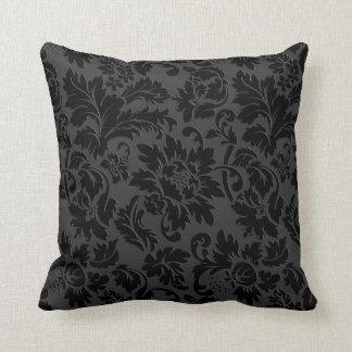 黒い及び灰色の白黒ヴィンテージの花柄のダマスク織 クッション