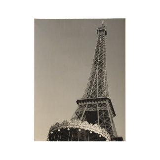 黒い及び白のエッフェル塔 ウッドポスター