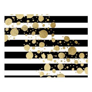 黒い及び白のストライプの模造のな金ゴールドのペンキの(ばちゃばちゃ)跳ねる ポストカード
