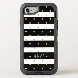 黒い及び白のストライプの金ゴールドの水玉模様パターン オッターボックスディフェンダーiPhone 8/7 ケース