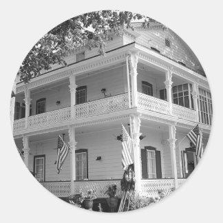 黒い及び白のビクトリアンな家 丸型シール