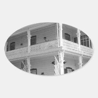 黒い及び白のビクトリアンな家 楕円形シール