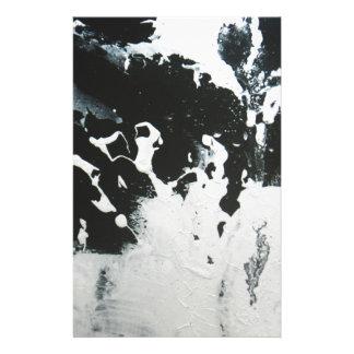 黒い及び白の抽象的な大理石のデザインのイラストレーション 便箋