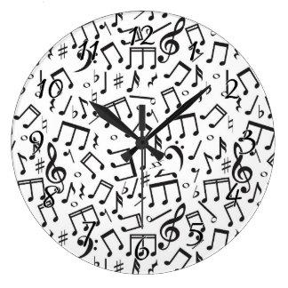 黒い及び白の踊りのノート ラージ壁時計