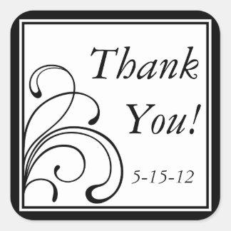 黒い及び白ステッカーおよび好意のラベルありがとう スクエアシール