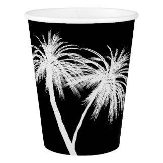 黒い及び白人の熱帯ヤシの木のモダンなパーティー 紙コップ