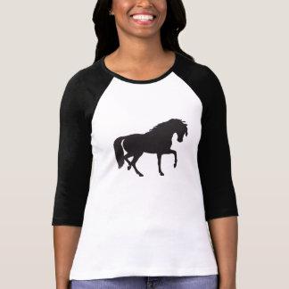 黒い及び白馬のシルエット Tシャツ
