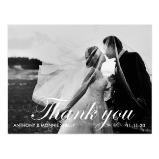 黒い及び白2の写真の結婚式は郵便はがき感謝していしています ポストカード