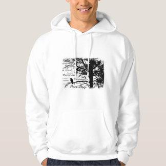 黒い及び白Nevermoreシルエットの木をあさり歩いて下さい パーカ