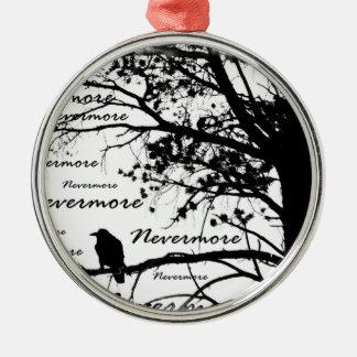 黒い及び白Nevermoreシルエットをあさり歩いて下さい メタルオーナメント