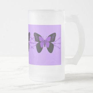 黒い及び紫色の蝶 フロストグラスビールジョッキ